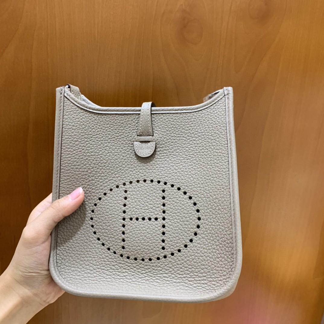 Hermès(爱马仕)Evelyne 伊芙琳 TC 斑鸠灰 银扣 16cm