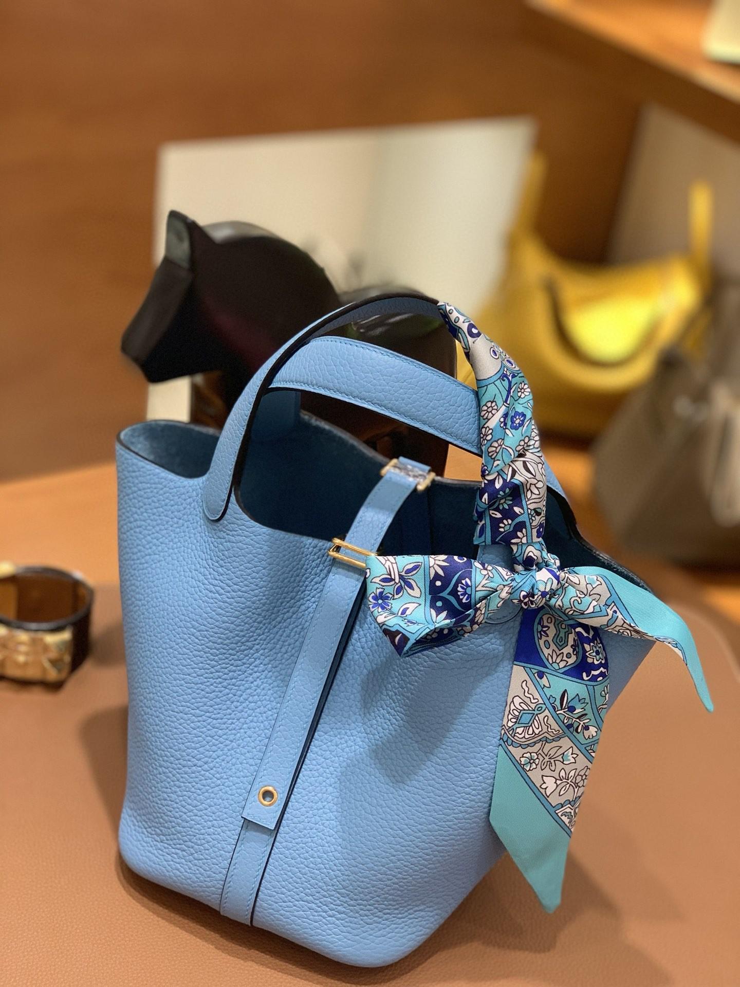 Hermès(爱马仕)Picotin 菜篮子 TC皮 P3 北方蓝 18cm 金扣
