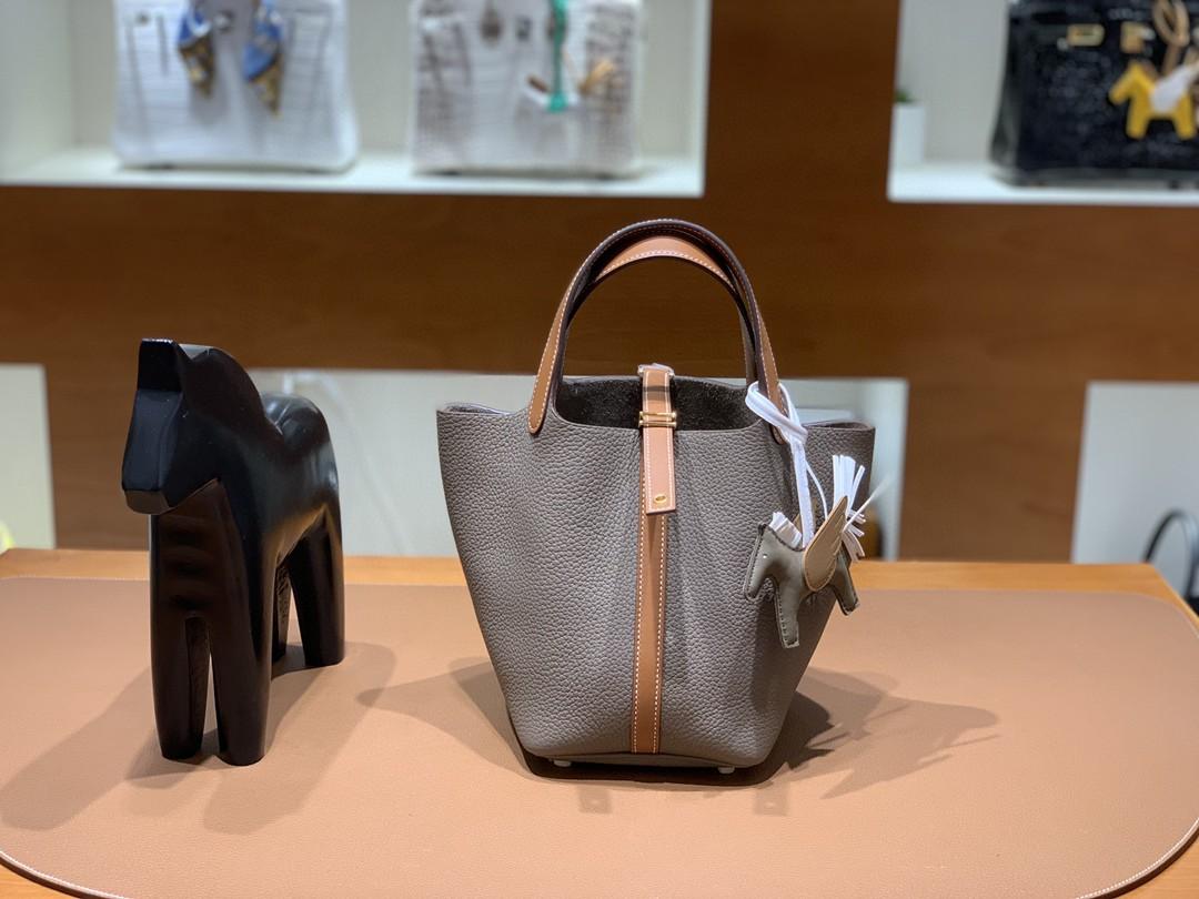 Hermès(爱马仕)Picotin 菜篮子 大象灰拼金棕色 TC拼swift皮 18cm 银扣