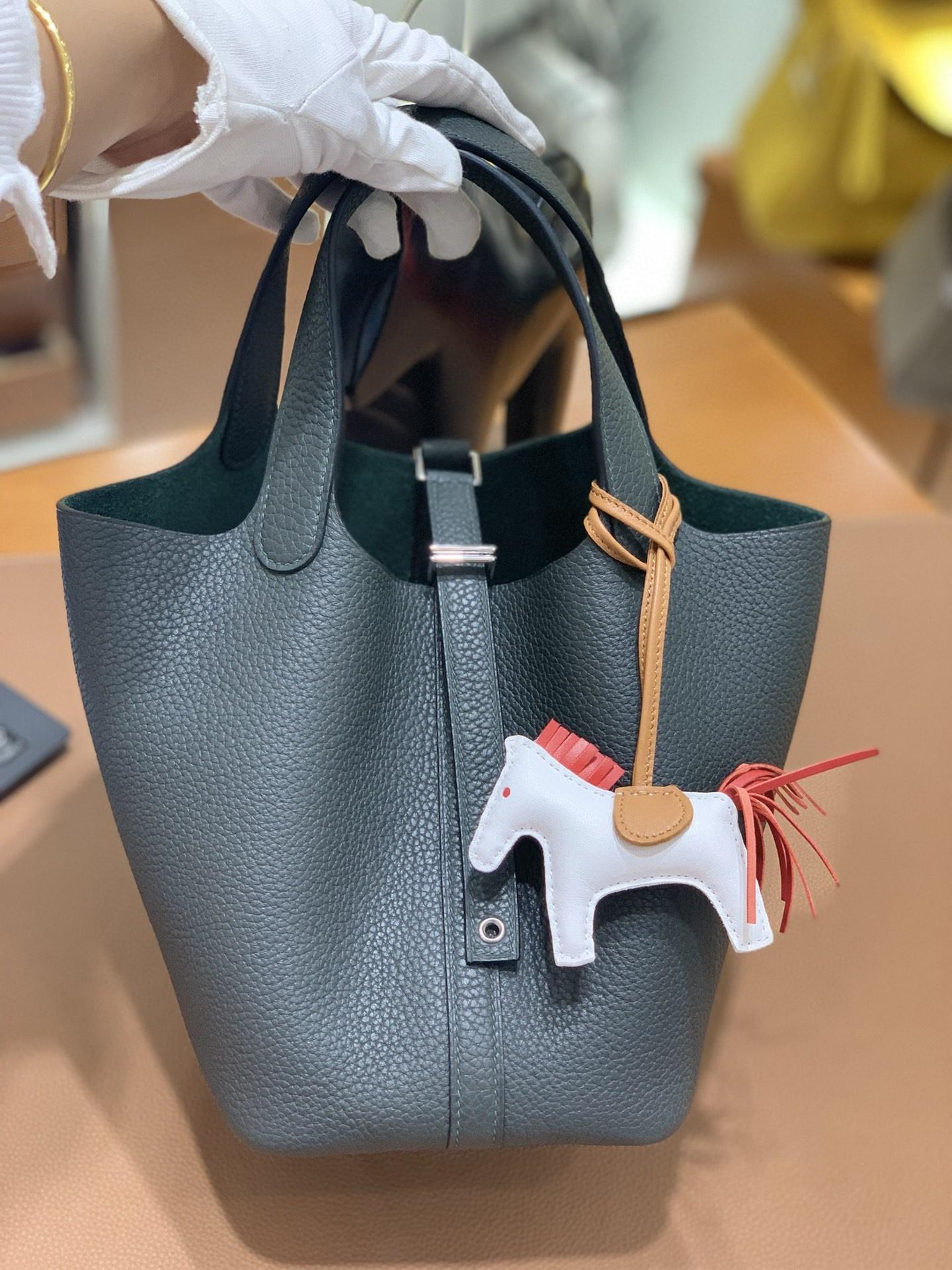 Hermès(爱马仕)Picotin 菜篮子 TC 6O松柏绿 18cm 银扣 现货