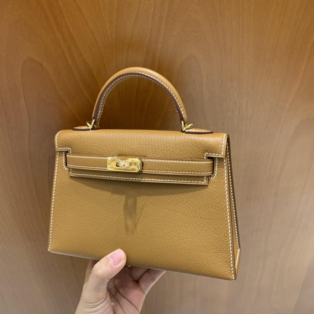 Hermès(爱马仕)minikelly 迷你凯莉 山羊皮 金棕色 19cm 金扣