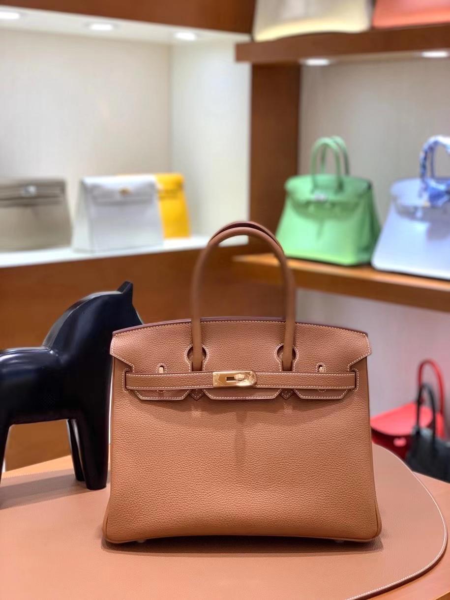 Hermès(爱马仕) Birkin 铂金包 金棕色 togo 金扣 30cm 现货