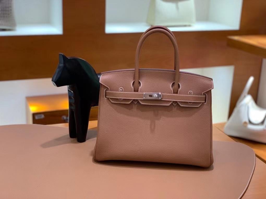 Hermès(爱马仕) Birkin 铂金包 金棕色 togo 银扣 30cm 现货