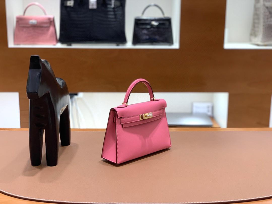 Hermès(爱马仕)minikelly 迷你凯莉 Swift 8w 唇膏粉 19cm 金扣