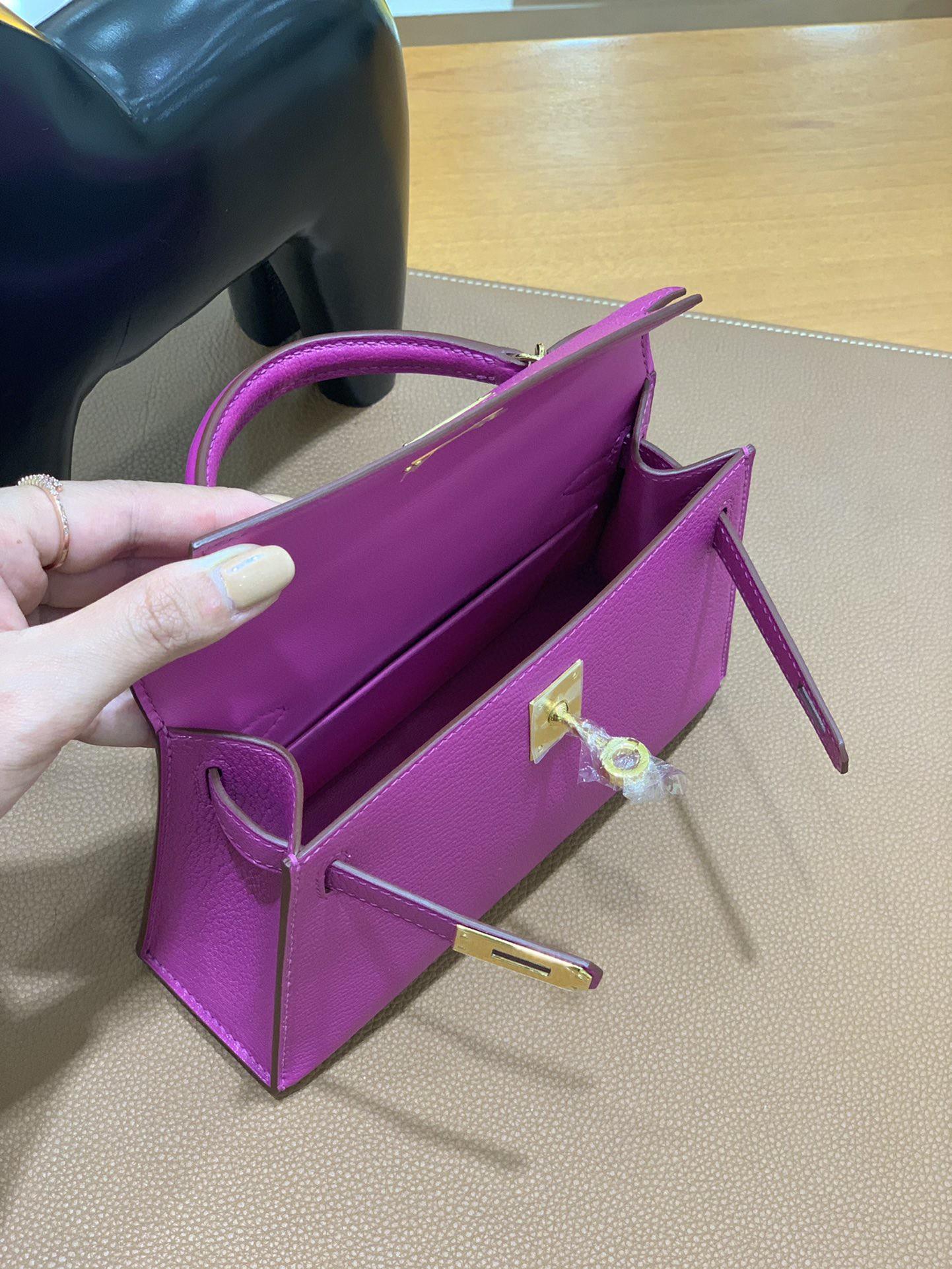 Hermès(爱马仕)minikelly 迷你凯莉 山羊皮 玫瑰紫 19cm 金扣