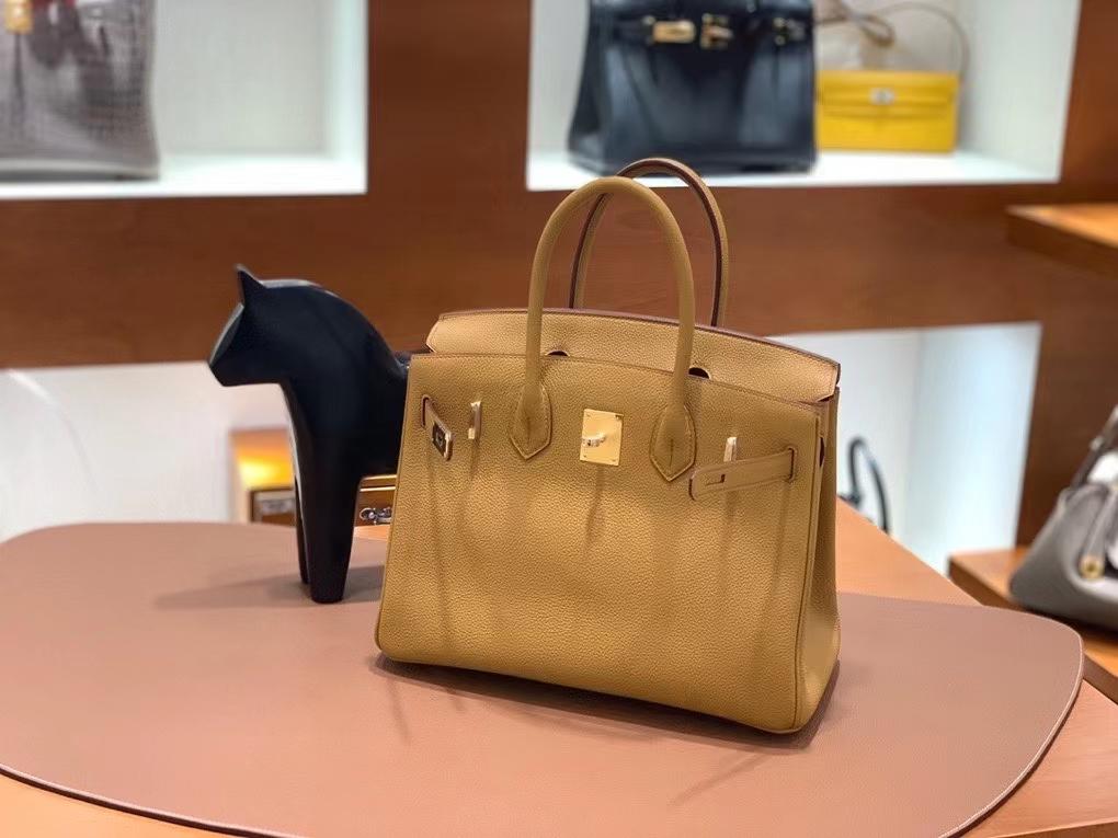 Hermès(爱马仕) Birkin 铂金包 芝麻色 togo 金扣 30cm 现货