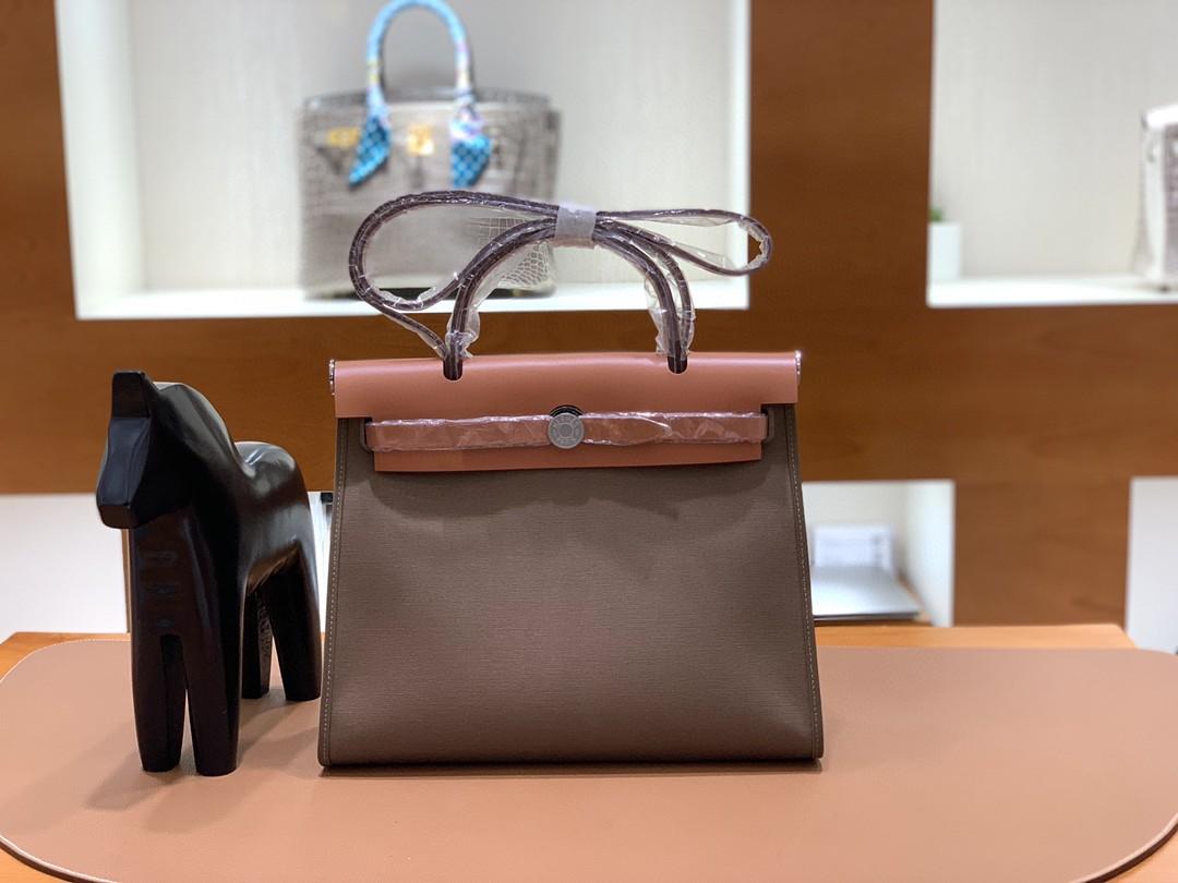 Hermès(爱马仕)herbag Box帆布 金棕色拼大象灰 银扣 31cm