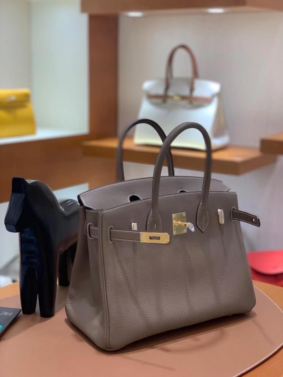 Hermès(爱马仕) Birkin 铂金包 togo 大象灰 金扣 30cm 现货