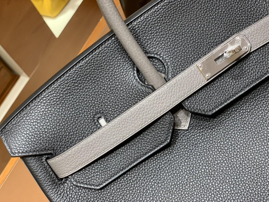 Hermès(爱马仕)Birkin 铂金包 Togo 8F 锡器灰 拼 黑色 银扣 40cm