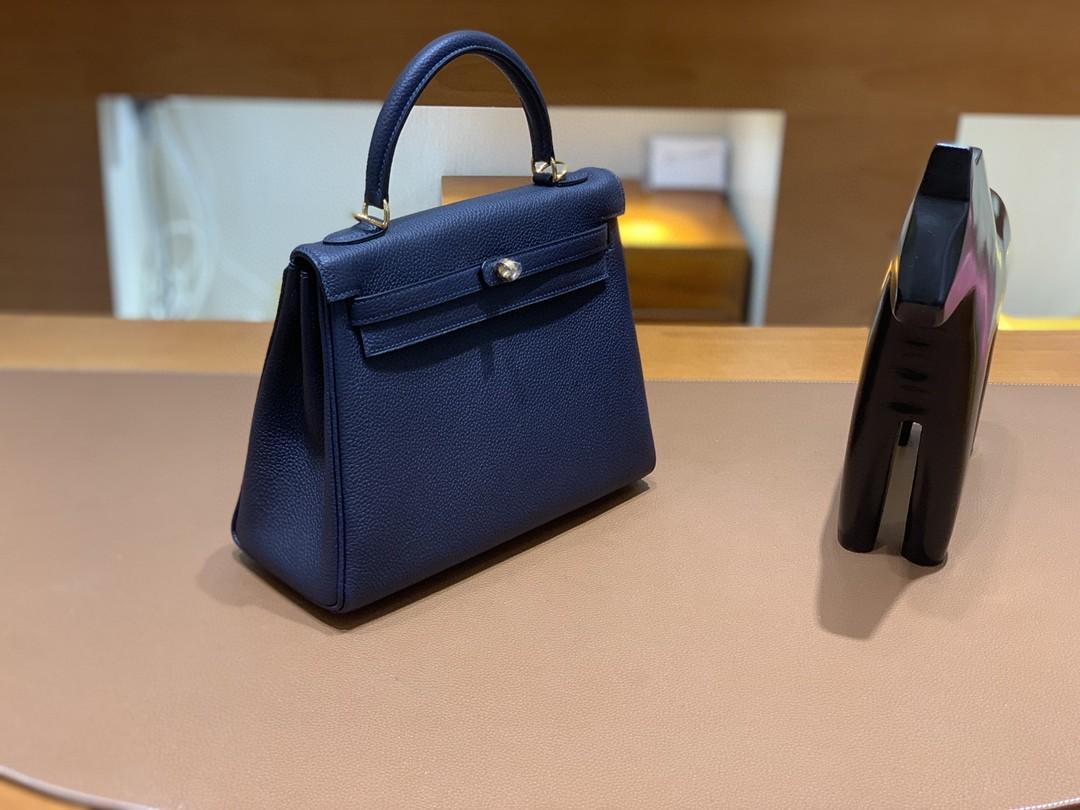 Hermès(爱马仕)Kelly 凯莉包 Togo 午夜蓝 金扣 25cm