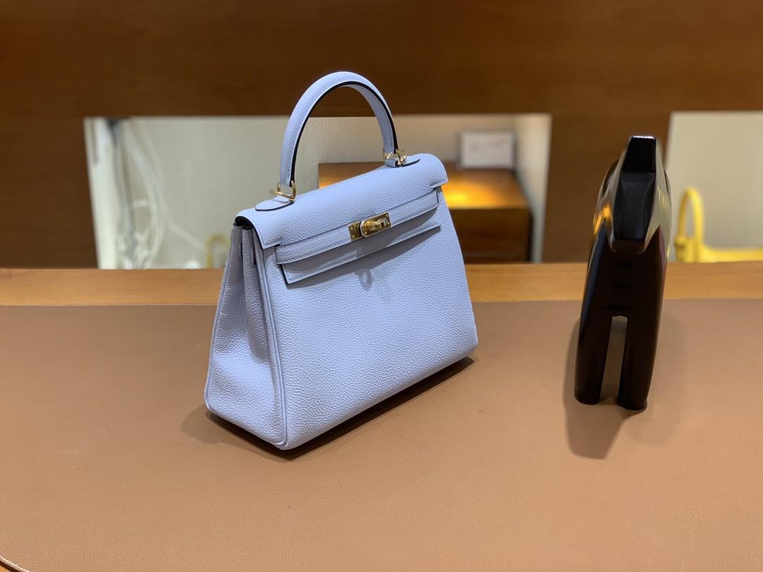 Hermès(爱马仕)Kelly 凯莉包 Togo T0 雾霾蓝 金扣 25cm