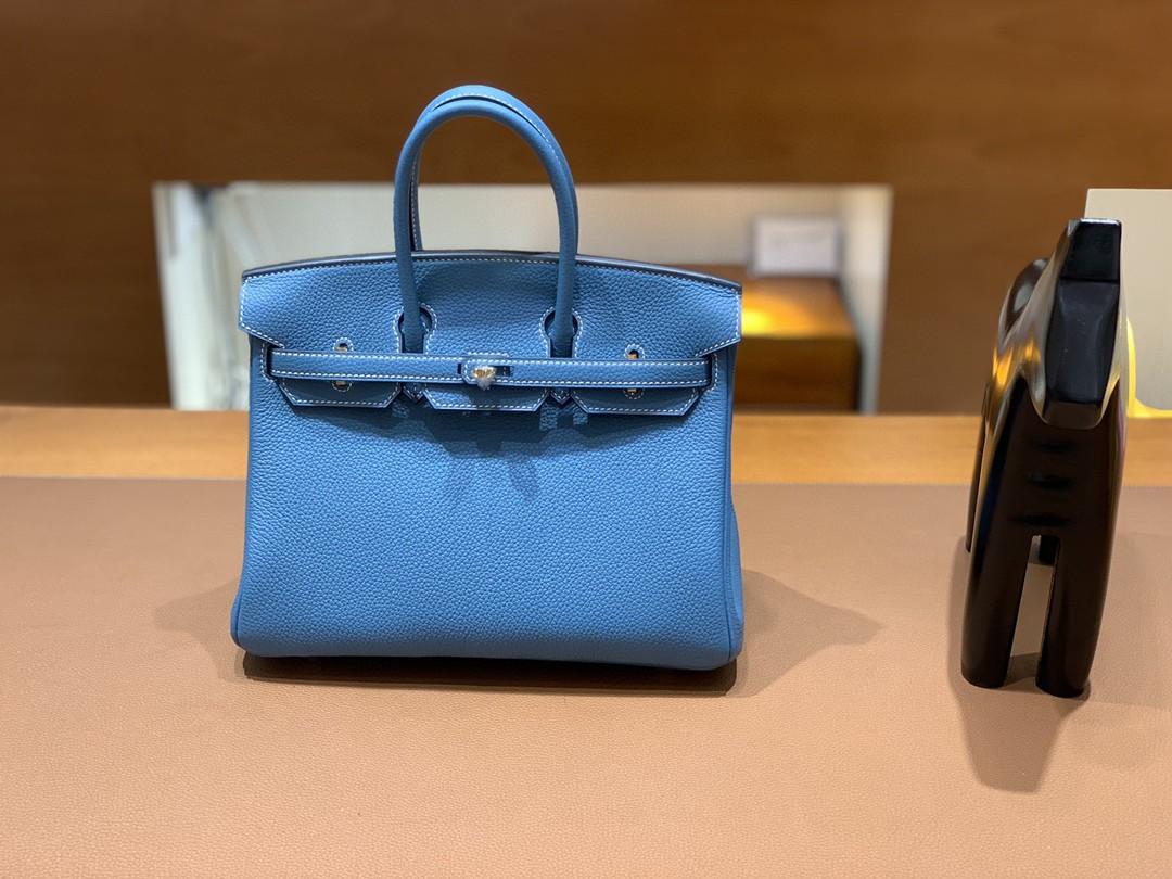 Hermès(爱马仕)Birkin 铂金包 Togo 牛仔蓝 金扣 25cm