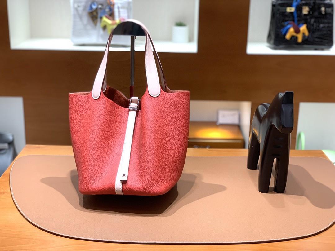 Hermès(爱马仕)Picotin 菜篮子 TC拼swift 番茄红 拼 藕粉 银扣 22cm