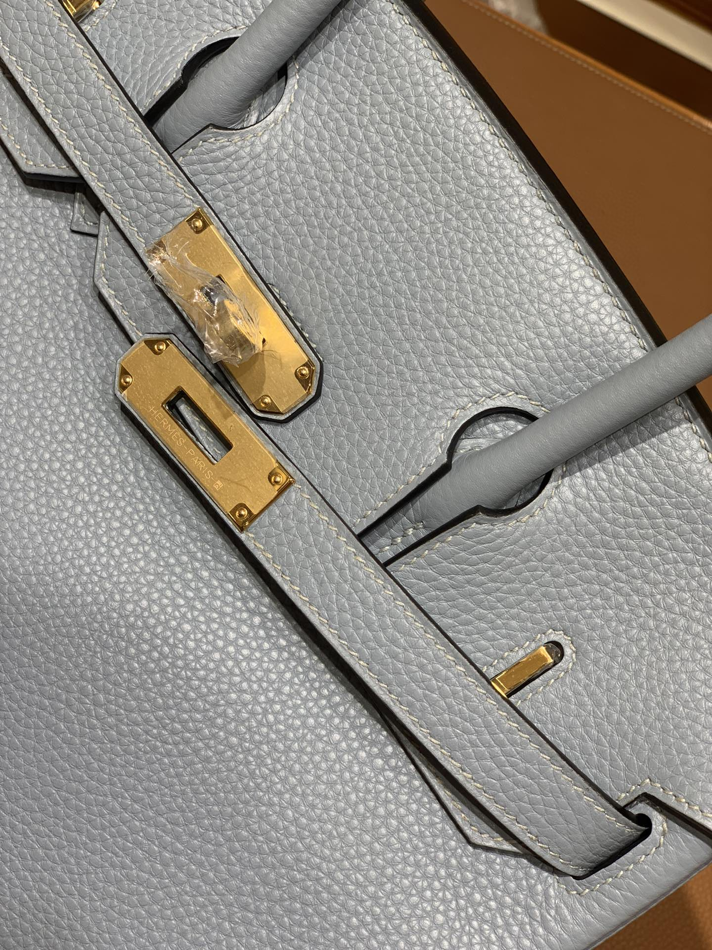 Hermès(爱马仕)Birkin 铂金包 Togo 亚麻蓝 金扣 30cm