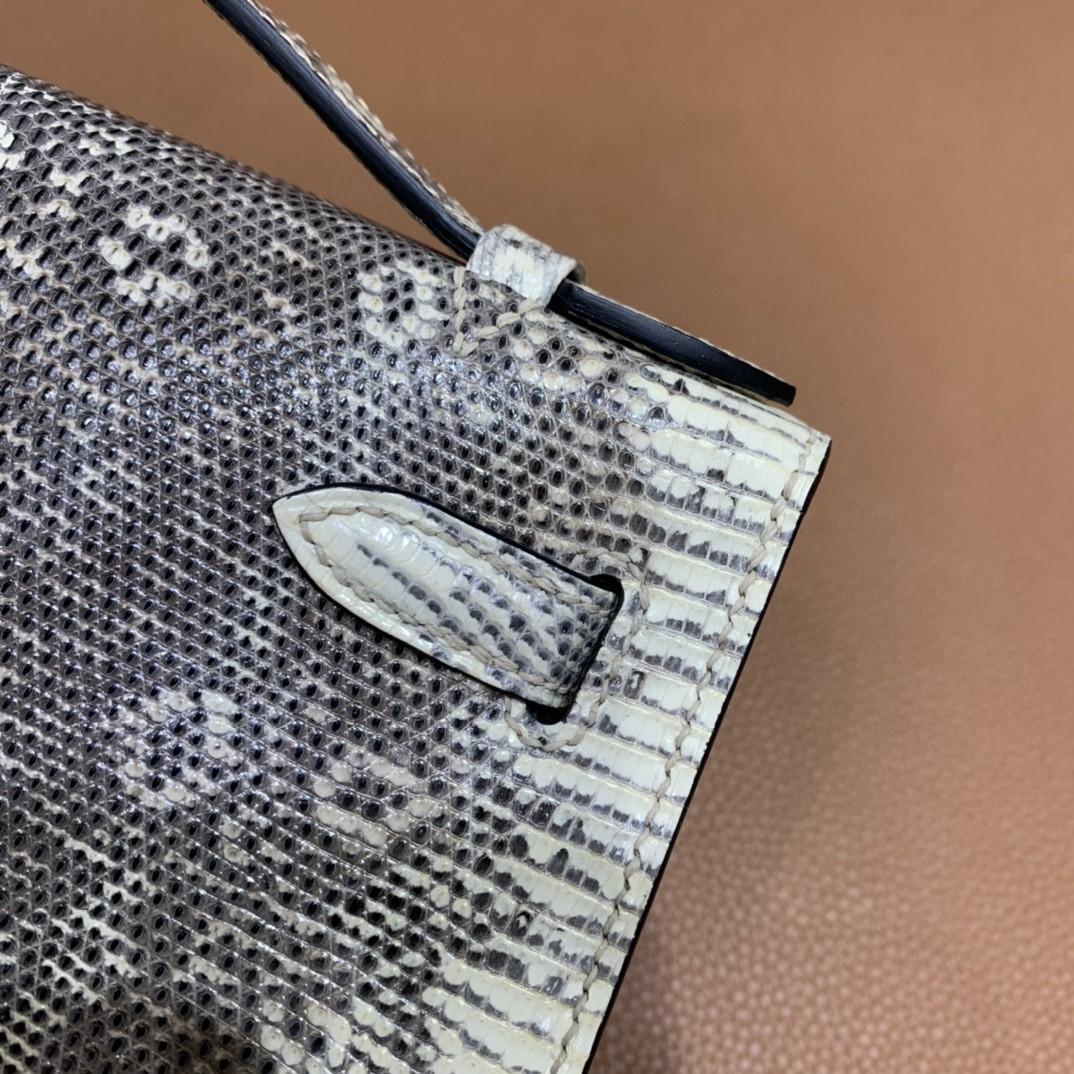 Hermès(爱马仕)mini Kelly 迷你凯莉 雪花蜥蜴 原色 银扣 22cm