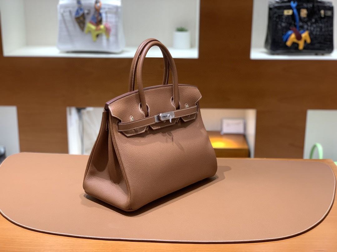 Hermès(爱马仕)Birkin 铂金包 Togo 金棕色 银扣 30cm