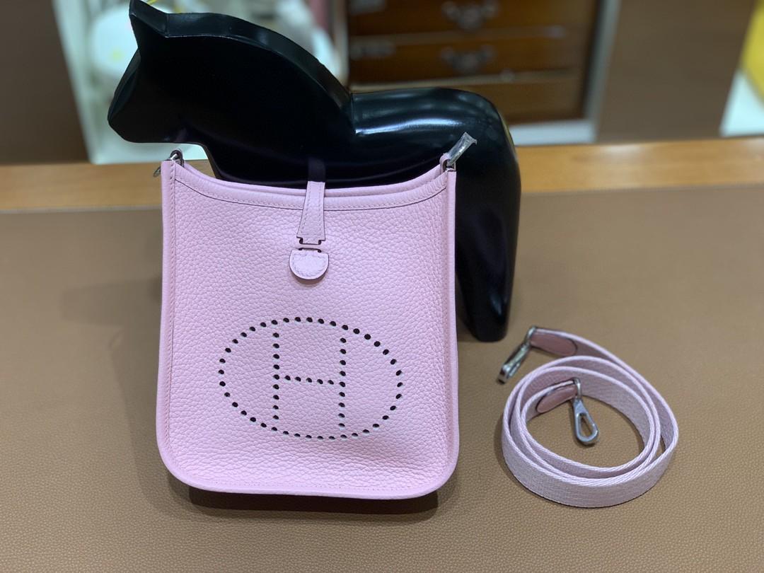 Hermès(爱马仕)Evelyne 伊芙琳 TC 3Q 樱花粉 银扣 16cm