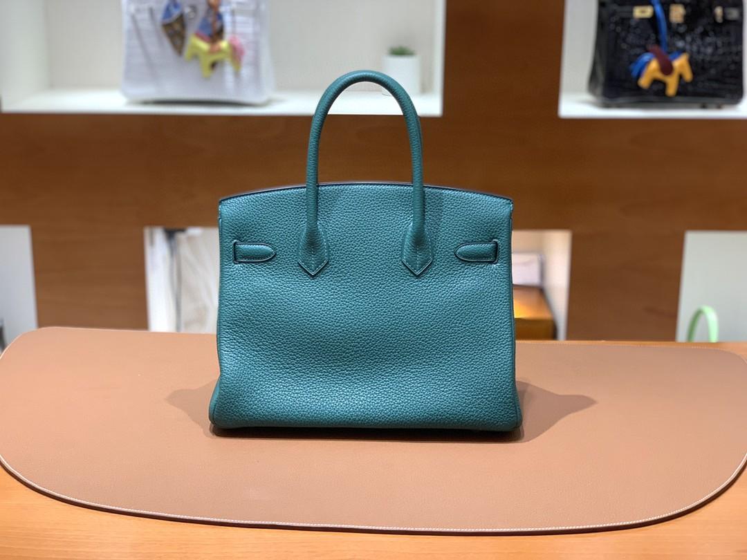 Hermès(爱马仕)Birkin 铂金包 Togo 孔雀绿 银扣 30cm