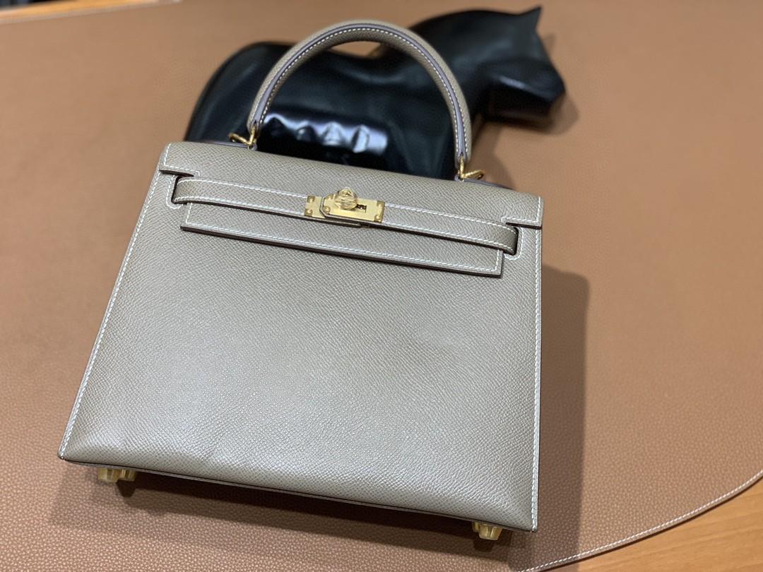 Hermès(爱马仕)Kelly 凯莉包 Epsom 大象灰 金扣 25cm