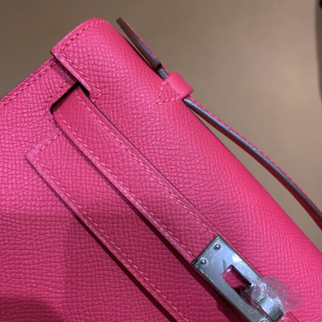Hermès(爱马仕)Kelly Pochette epsom 极致粉 银扣 22cm