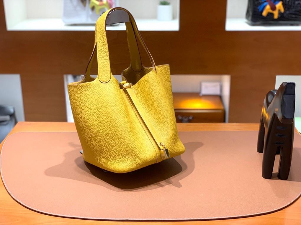 Hermès(爱马仕)Picotin 菜篮子 TC 9D 琥珀黄 金扣 22cm