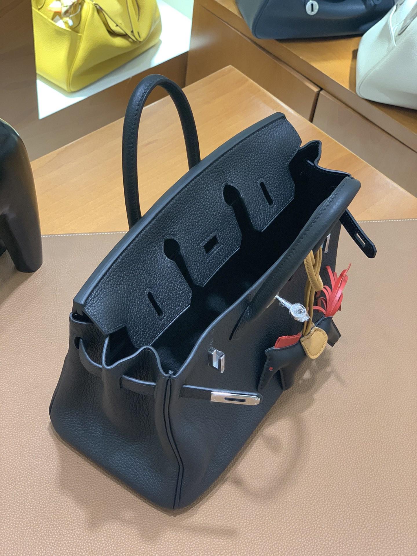 Hermès(爱马仕)Birkin 铂金包 Togo 黑色 银扣 25cm
