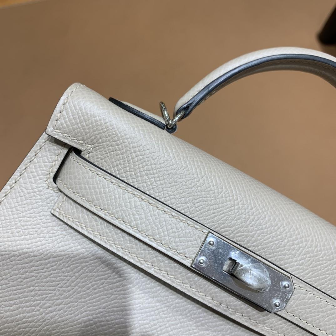 Hermès(爱马仕)mini Kelly 迷你凯莉 Epsom 斑鸠灰 银扣 19cm