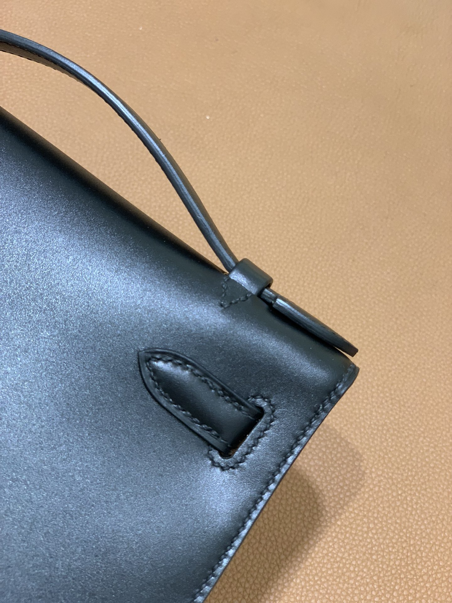 Hermès(爱马仕)mini Kelly pochette Box 黑色 银扣 22cm 晚宴包