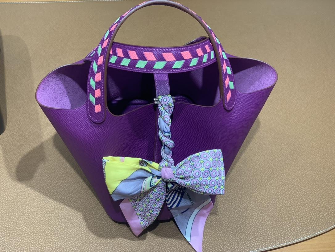 Hermès(爱马仕)Picotin 菜篮子 Epsom 海葵紫 银扣 18cm
