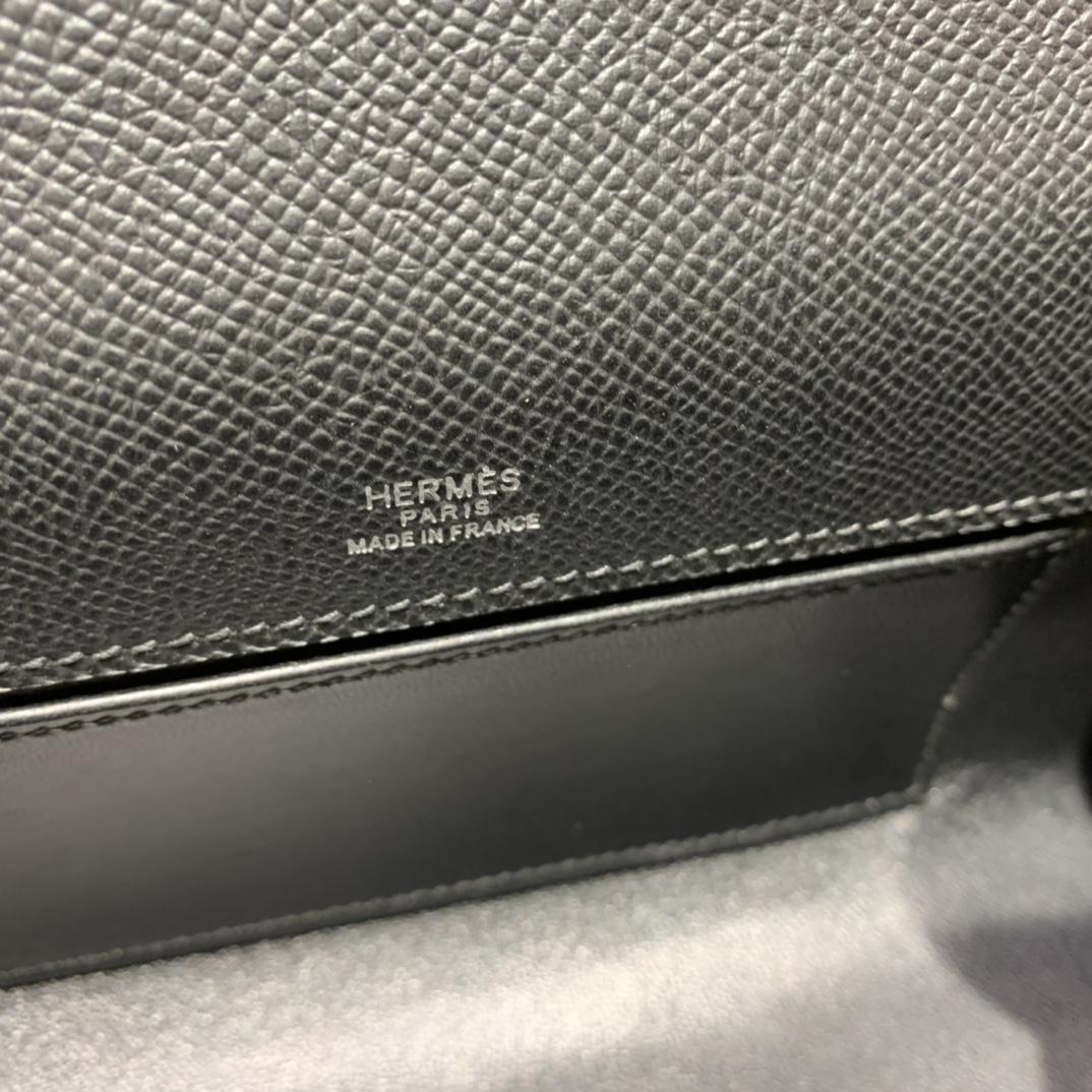 Hermès(爱马仕)Kelly Pochette 迷你凯莉 epsom 黑色 银扣 22cm