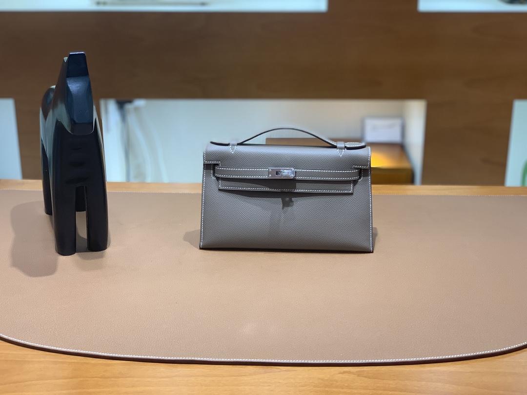 Hermès(爱马仕)Kelly Pochette 迷你凯莉 epsom 大象灰 银扣 22cm
