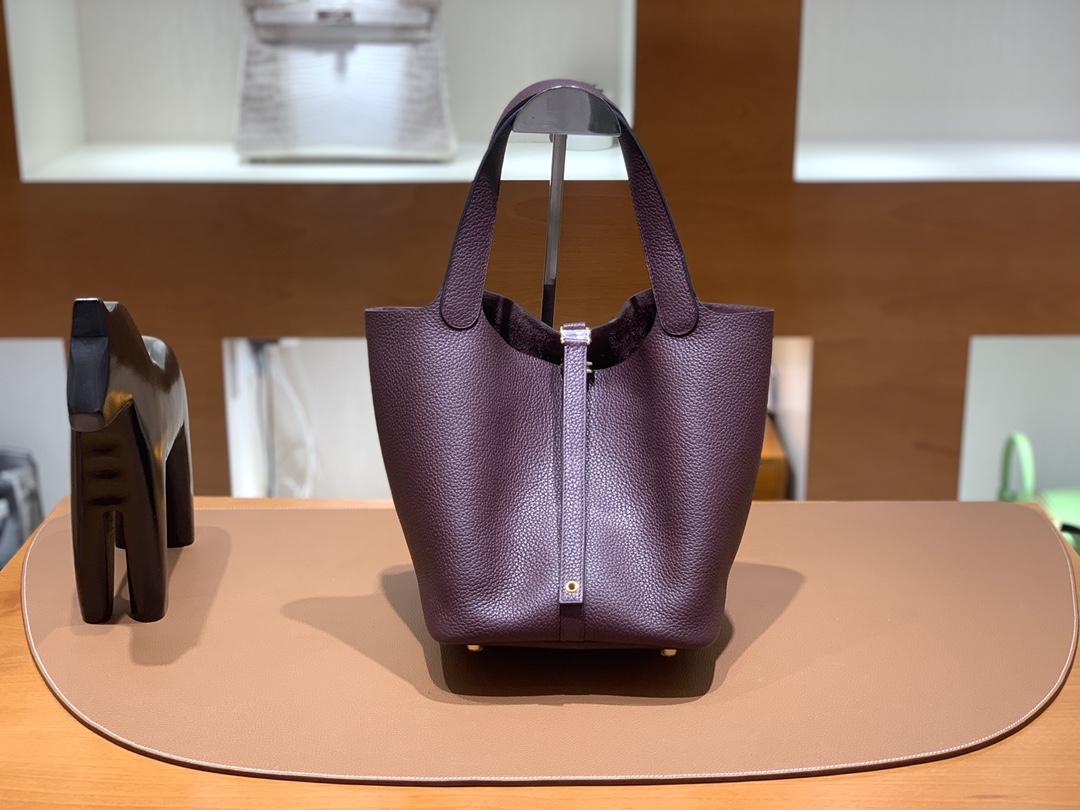 Hermès(爱马仕)Picotin 菜篮子 TC皮 0G 马鞍红 金扣 22cm