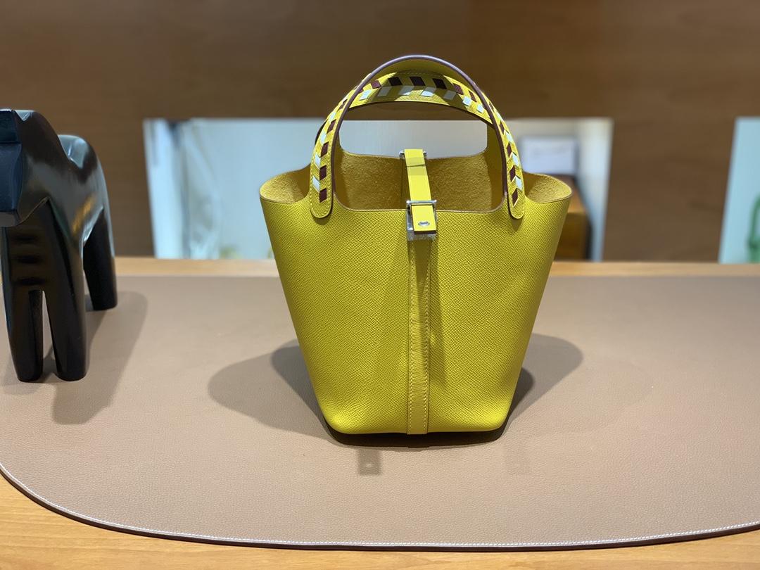 Hermès(爱马仕)Picotin 菜篮子 Epsom 9D 琥珀黄 银扣 18cm
