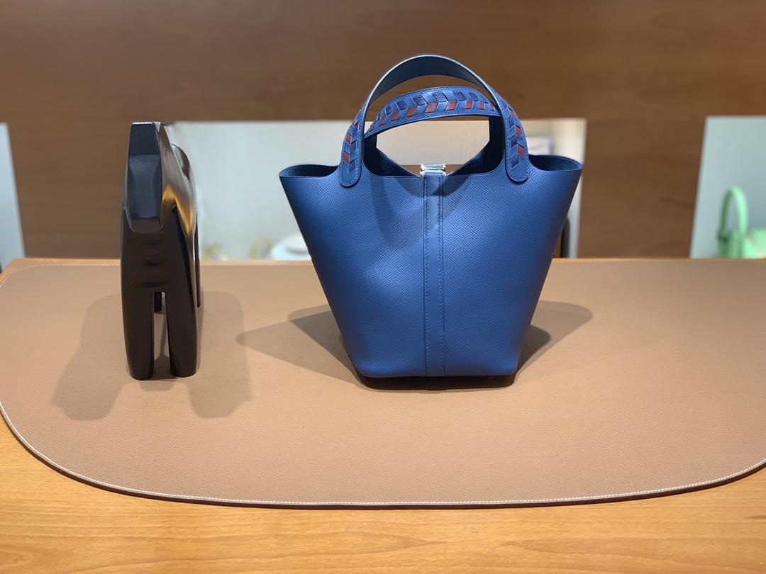 Hermès(爱马仕)Picotin 菜篮子 Epsom S4 深邃蓝 银扣 18cm