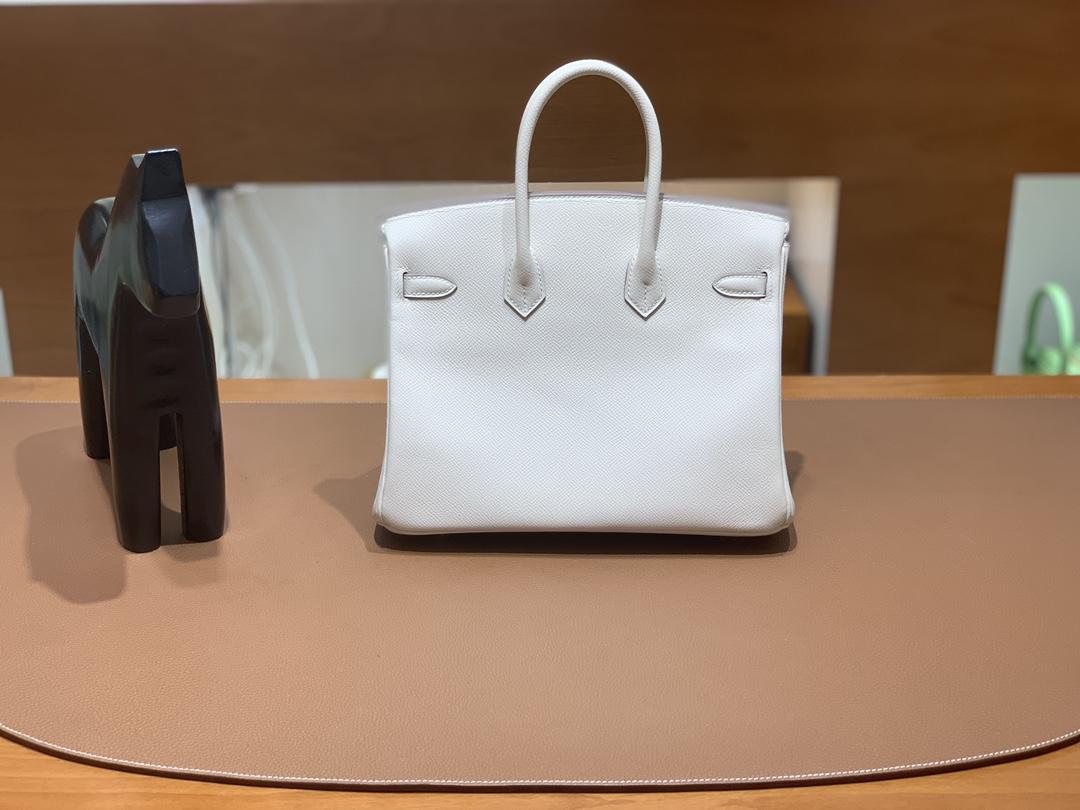 Hermès(爱马仕)Birkin 铂金包 Epsom 奶昔白 银扣 25cm